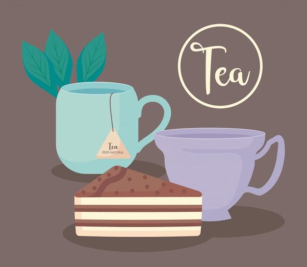 Copos de chá natural com fatia de bolo Vetor Premium