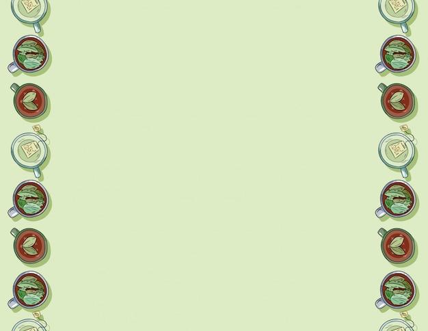 Copos de mão desenhada bonito dos desenhos animados de bebidas verdes deliciosas sem costura padrão Vetor Premium