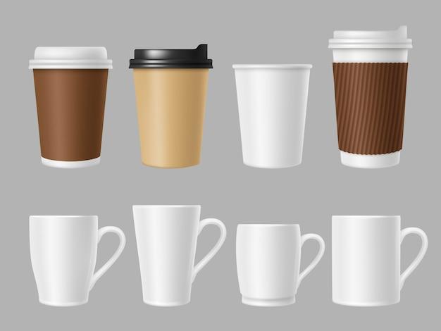 Copos de maquete de café. canecas brancas e marrons em branco para café quente. modelo realista de copos de papel e cerâmicos Vetor Premium