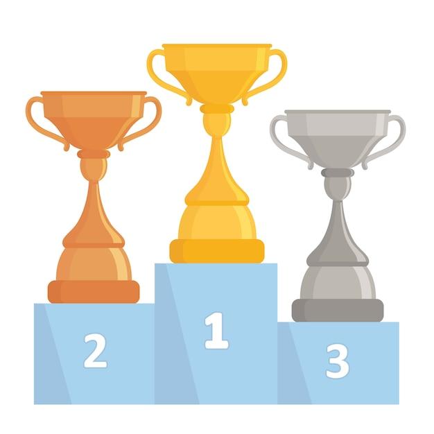 Copos de troféu de ouro, prata e bronze. copos de vencedor de árvore no pódio. design plano. Vetor Premium