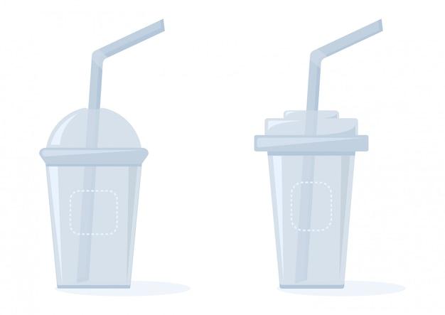 Copos plásticos para líquidos com canudos, ilustração Vetor Premium