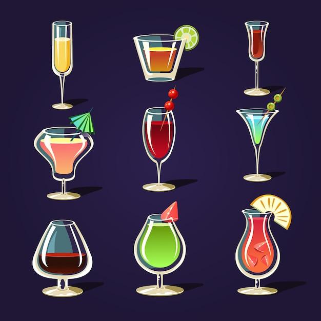 Coquetéis de álcool e outras bebidas Vetor Premium
