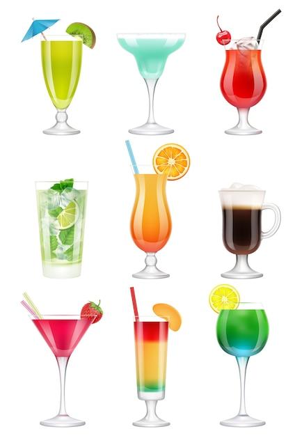 Coquetéis realistas. bebidas alcoólicas em copos de suco tequila menta licor gin tônico cocktail realista. coquetel realista, mojito e hortelã, ilustração de guarda-chuva Vetor Premium
