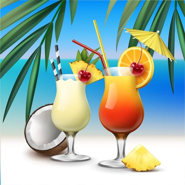 Coquetéis tropicais vetoriais tequila sunrise e pina colada na beira-mar azul com fundo de folhas de palmeira Vetor grátis