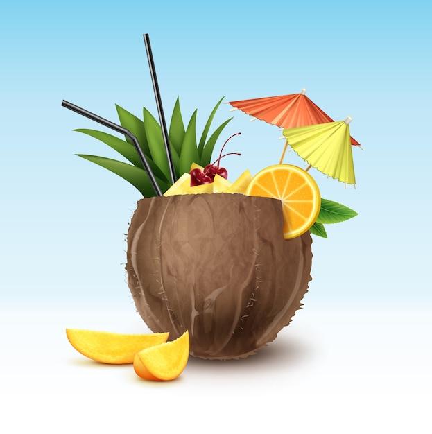 Coquetel de coco de vetor decorado com cereja maraschino, fatias de abacaxi, fatia de laranja, tubos de palha preta e guarda-chuvas de festa verdes e rosa isolados no fundo Vetor grátis