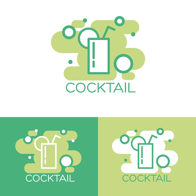 Coquetel logotipo conceito design. Vetor grátis