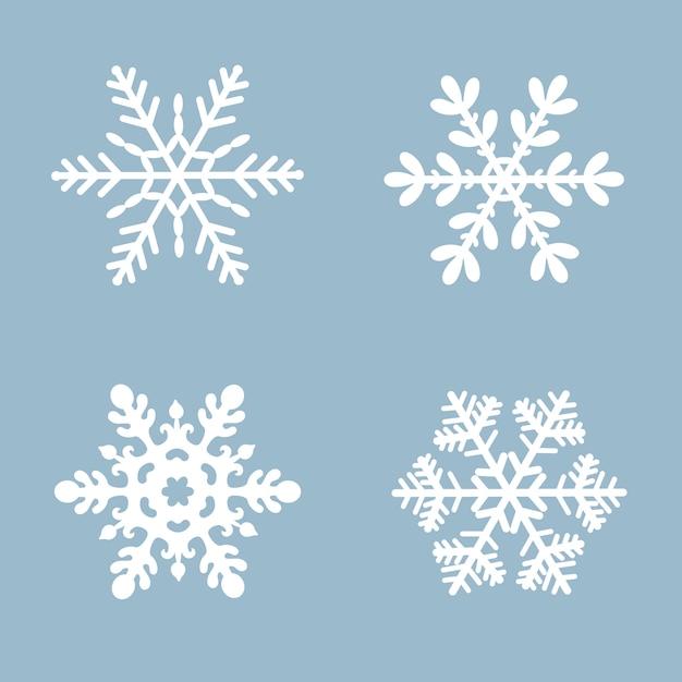 Cor branca ajustada do ícone do vetor do floco de neve. elemento de cristal liso da neve azul do natal do inverno. Vetor Premium