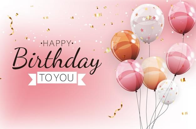 Cor brilhante feliz aniversário balões banner fundo ilustração Vetor Premium