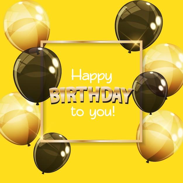 Cor brilhante feliz aniversário balões banner fundo Vetor Premium