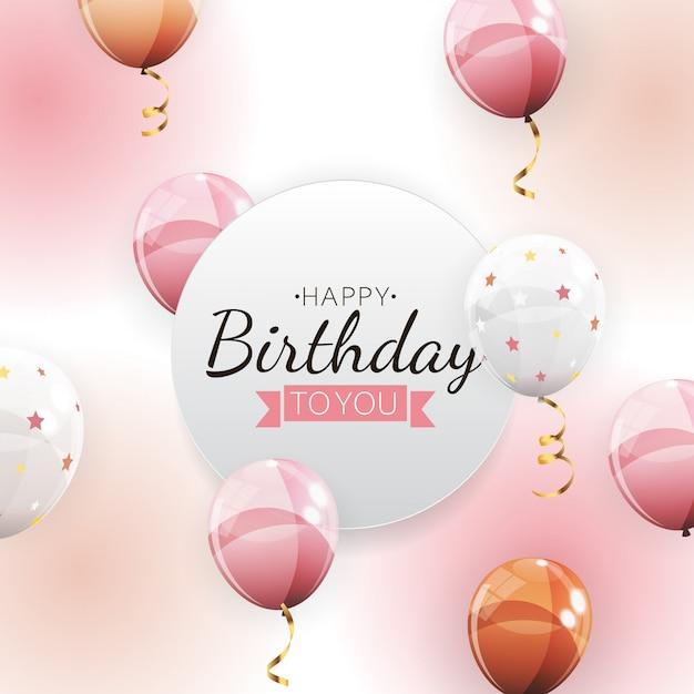 Cor brilhante feliz aniversário balões fundo ilustração Vetor Premium