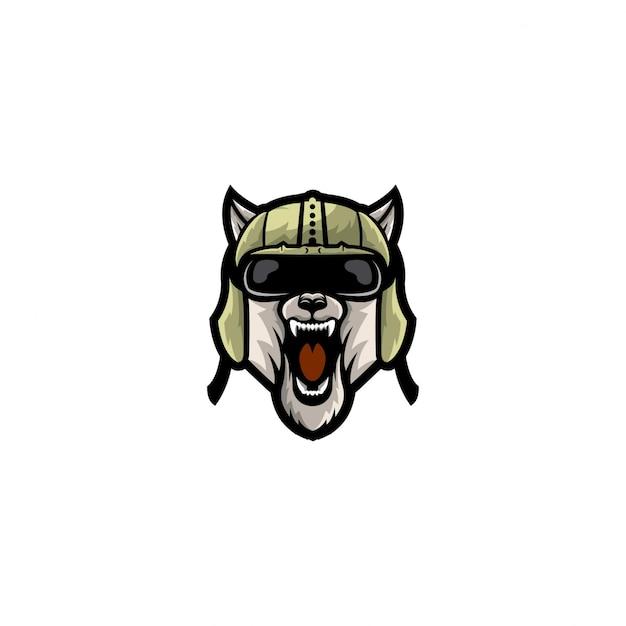 Cor completa do logotipo do estilo da cabeça de cão Vetor Premium