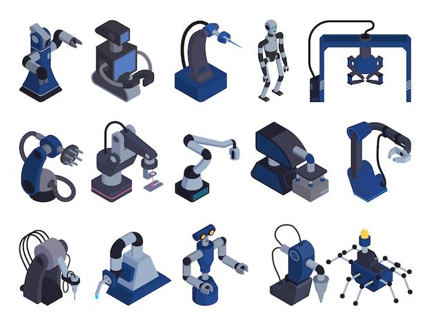 Cor de automação de robô defina ícone com imagens isométricas isoladas de manipuladores de robô para fins especiais e braços de manipuladores ilustração em vetor Vetor grátis