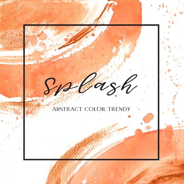 Cor de coral aquarela de concha na moda e ouro guache textura de fundo Vetor grátis