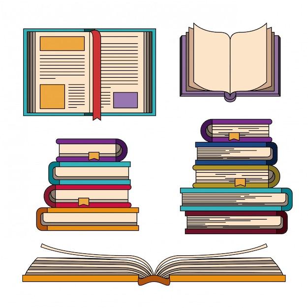 Cor definida com pilha de conhecimento de livros Vetor Premium