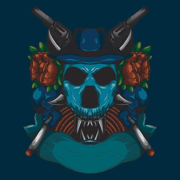 Cor detalhada ilustração de um crânio de cabeça de caçador com um ornamento de rosa vermelha e uma arma Vetor Premium