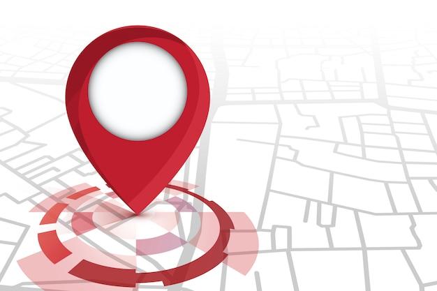 Cor do ícone vermelho do localizador mostrando no mapa de ruas Vetor Premium