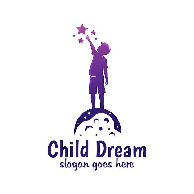 Cor moderna sonho de criança, estrela de alcance, logotipo de sonho de alcance Vetor Premium