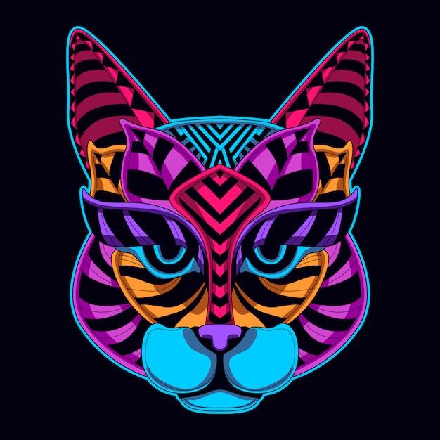 Cor neon de cara de gato Vetor Premium