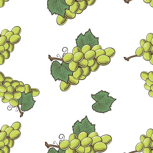 Cor padrão sem emenda com uvas verdes em estilo vintage Vetor Premium
