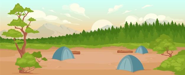 Cor plana de acampamento. recreação na natureza. lazer ativo de verão. caminhada aventura. paisagem dos desenhos animados 2d do acampamento com floresta e montanhas durante o nascer do sol no fundo Vetor Premium