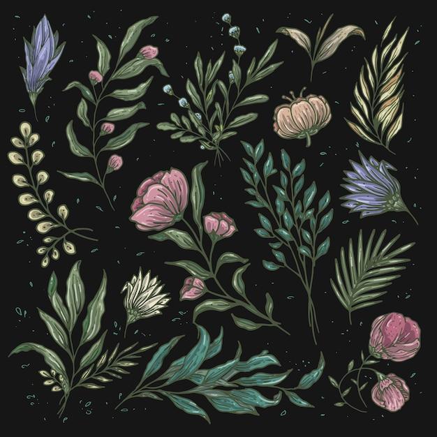 Cor suave de padrão floral vintage Vetor Premium
