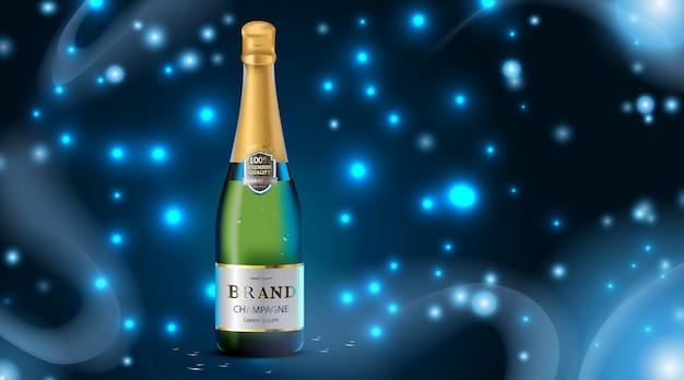 Cor verde garrafa de champanhe de luxo com gota de água e cubos de gelo em azul escuro Vetor Premium