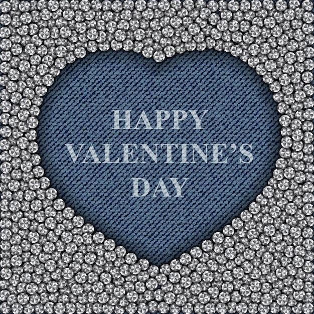 Coração azul jeans com diamantes e feliz dia dos namorados letras Vetor Premium