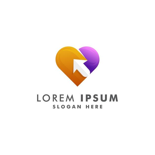 Coração com design de logotipo de seta. vetor de design de ícone de amor Vetor Premium