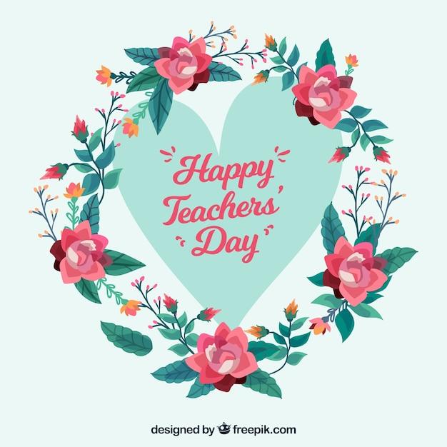 Coração com moldura floral, dia do professor