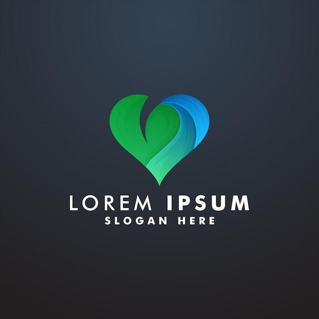 Coração da natureza com modelo de logotipo de folha Vetor Premium