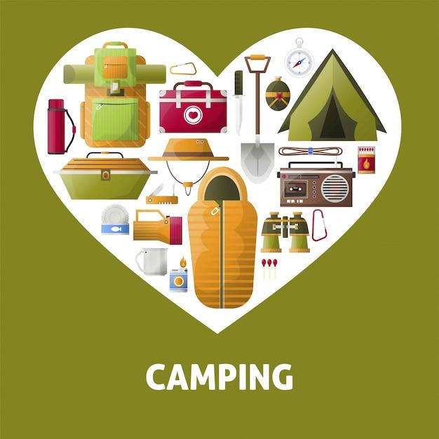 Coração de acampamento de verão Vetor Premium