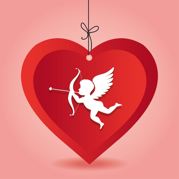 Coração de amor cupido pendurado fundo rosa | Vetor Premium