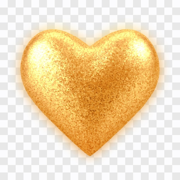 Coração de balão de ouro 3d realista abstrato com textura glitter isolada Vetor Premium