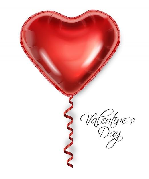 Coração de balão vermelho isolado no fundo branco Vetor Premium