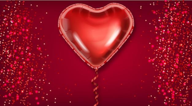 Coração de balão vermelho no fundo do brilho Vetor Premium