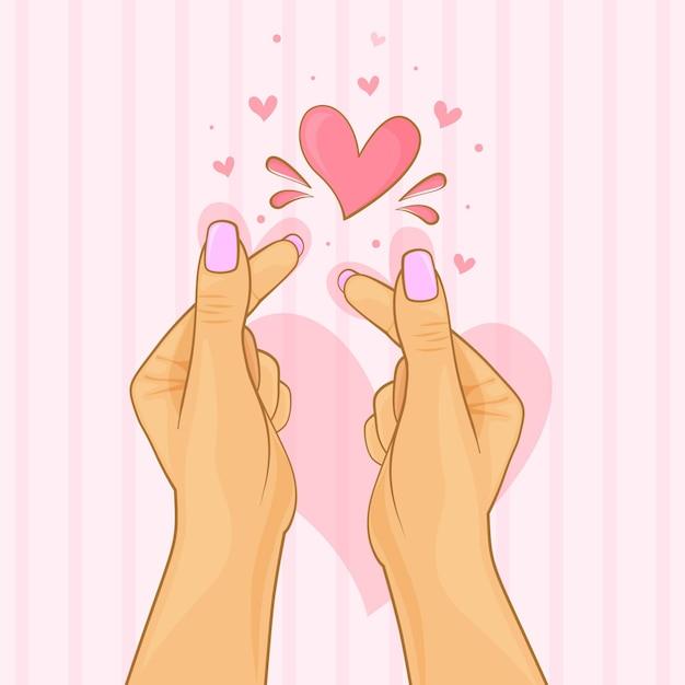 Coração de dedo desenhado à mão Vetor grátis