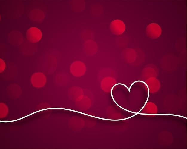 Coração de dia dos namorados linha elegante em bokeh de fundo Vetor grátis