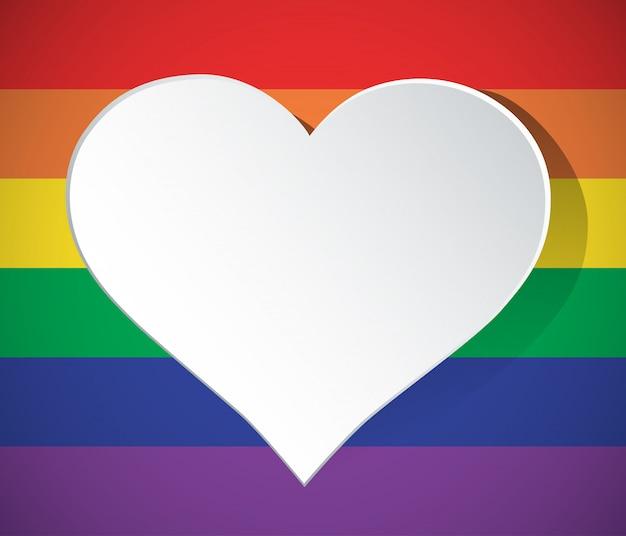Coração de lgbt em forma de ícone de arco-íris isolado Vetor Premium