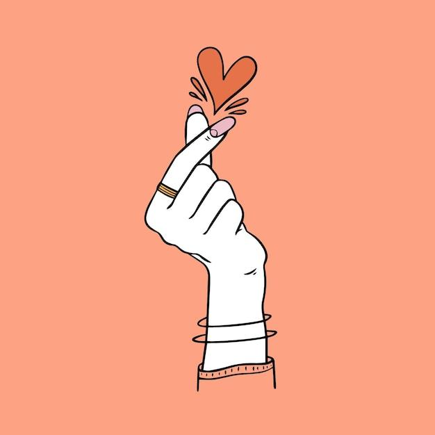 Coração de mão desenhada dedo Vetor grátis