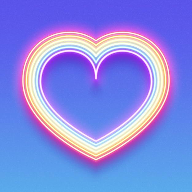Coração de néon brilhante do arco-íris Vetor Premium