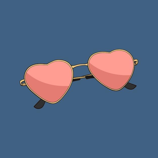 Coração de óculos de sol rosa Vetor Premium