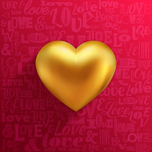 Coração de ouro sobre fundo vermelho e tipografia de amor Vetor Premium