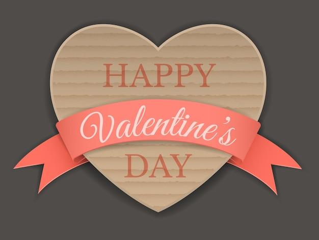 Coração de papelão envolto em fita, saudação de dia dos namorados. Vetor Premium