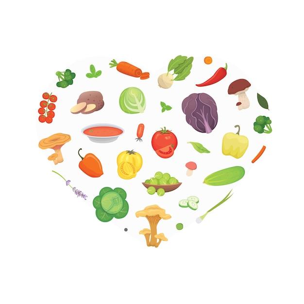 Coração de vegetais de desenho animado. fundo de ilustração de comida saudável. Vetor Premium
