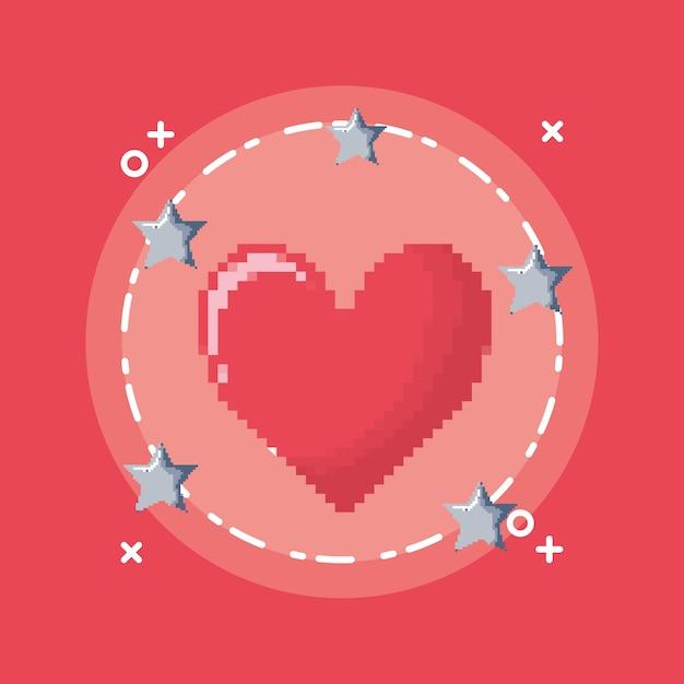 Coração de videogame com estrelas ao redor do ícone Vetor Premium