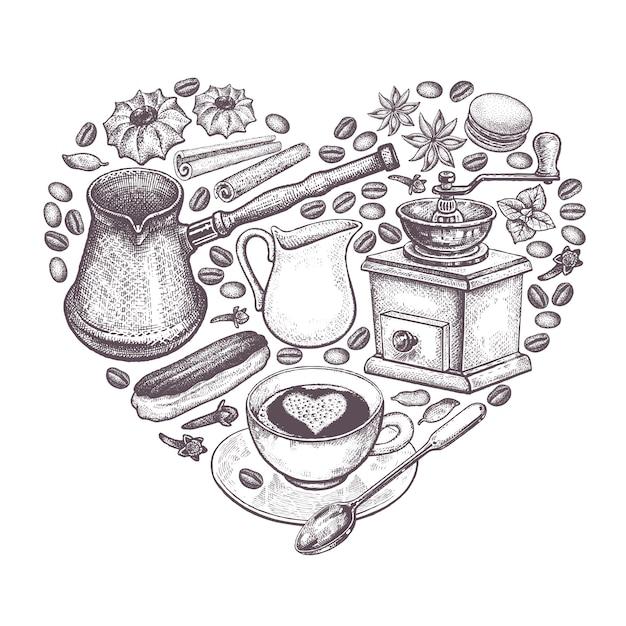 Coração disposto do café. Vetor Premium