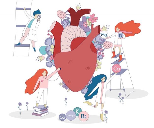 Coração e médicos saudáveis Vetor Premium