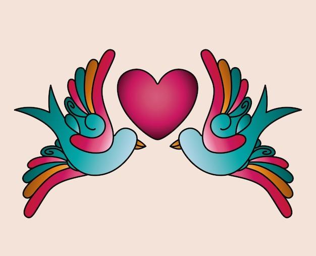 Coração e pássaros tatuagem ícone isolado do design Vetor Premium