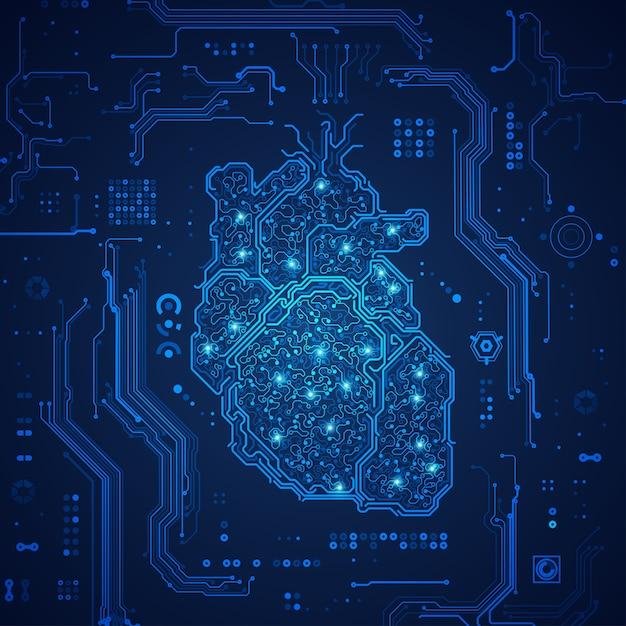 Coração eletrônico Vetor Premium