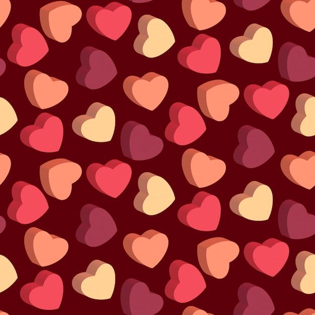 Coração em forma de doces padrão sem emenda dos namorados Vetor Premium